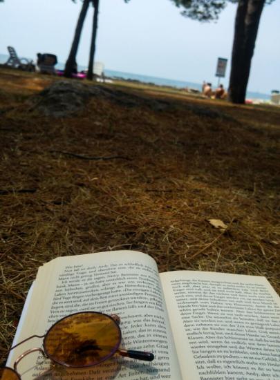 Buch am Boden mit Sonnenbrille die darauf liegt. Im Hintergrund sind Pappeln und das Meer zu erkennen.