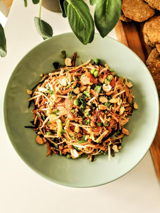 Teller mit dem Thai-Salat Gericht. Im Hintergrund ein Holzbrett und eine Pflanze.